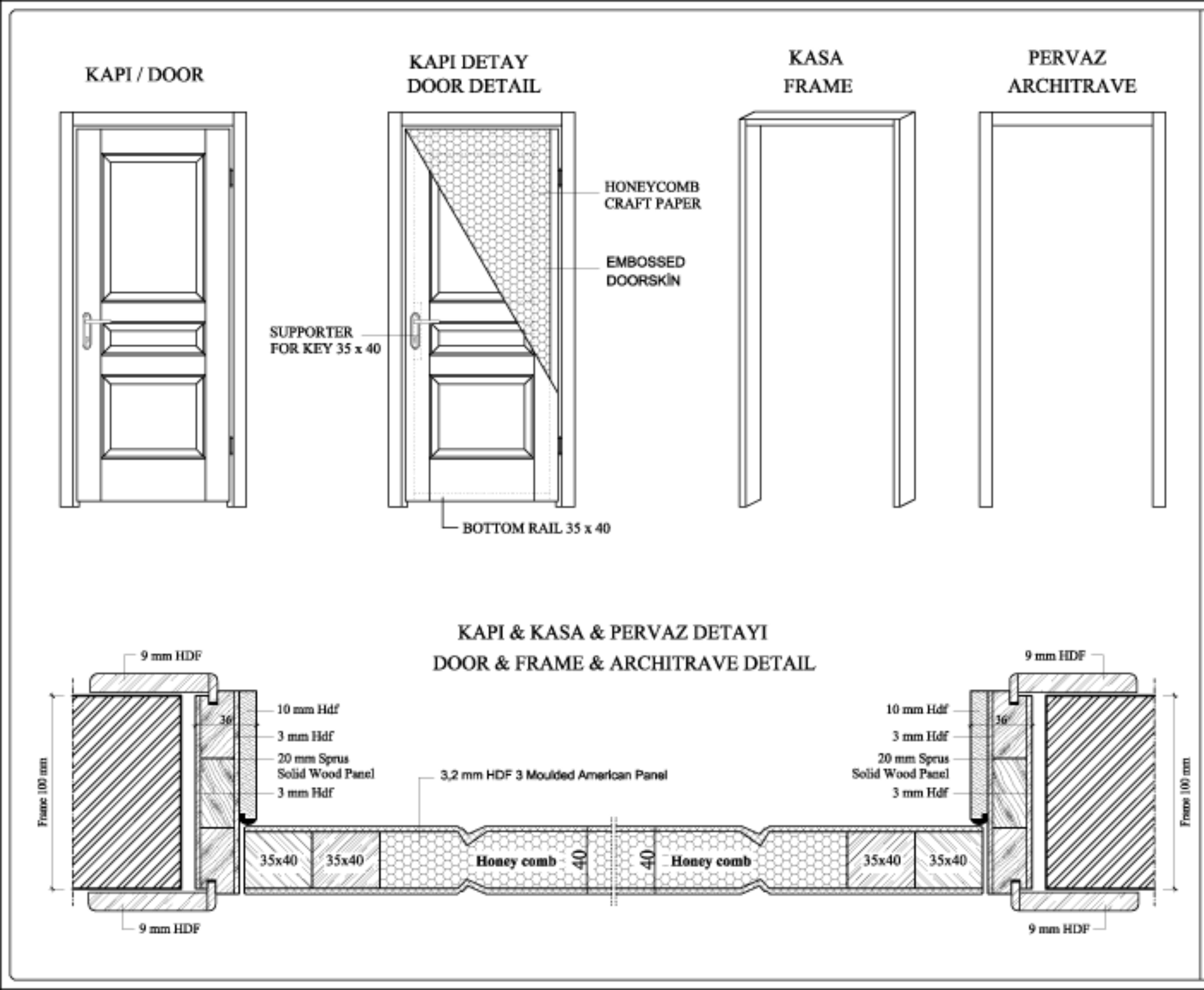 wooden door technical specs
